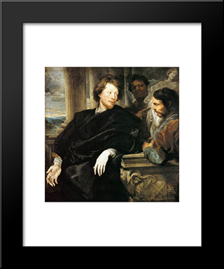 George Gage With Two Men:  Modern Black Framed Art Print by Anthony van Dyck