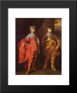 George Villiers, 2Nd Duke Of Buckingham And His Brother Lord Francis Villiers:  Modern Black Framed Art Print by Anthony van Dyck