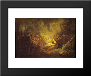 Birth Of Christ:  Modern Black Framed Art Print by Antoine Pesne