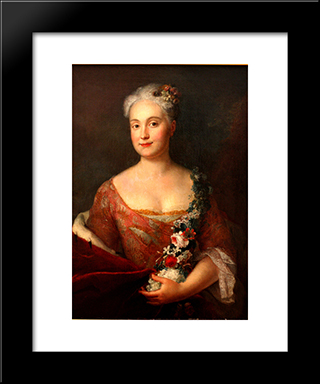 Countess Friederike Von Ansbach:  Modern Black Framed Art Print by Antoine Pesne