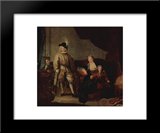 Family Portrait Of Baron Von Erlach:  Modern Black Framed Art Print by Antoine Pesne