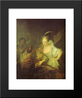 Fortune Teller:  Modern Black Framed Art Print by Antoine Pesne