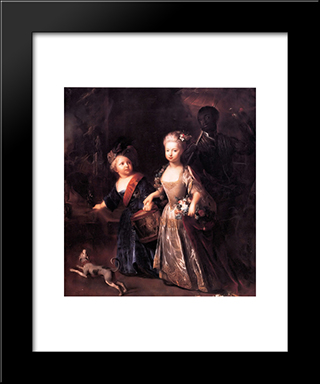 Frederick And His Sister Wilhelmina:  Modern Black Framed Art Print by Antoine Pesne
