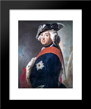 Frederick Ii Of Prussia:  Modern Black Framed Art Print by Antoine Pesne