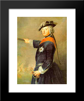 Frederick Ii Of Prussia As General:  Modern Black Framed Art Print by Antoine Pesne