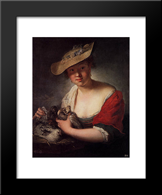 Girl With Pigeons:  Modern Black Framed Art Print by Antoine Pesne