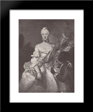 Henriette Karoline Von Pfalz Zweibrucken, Landgrave Of Hesse Darmstadt, With The Moor:  Modern Black Framed Art Print by Antoine Pesne
