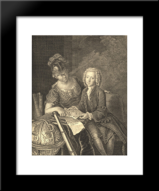 Jean Philippe Baratier Presented By Minerva, German Scholar:  Modern Black Framed Art Print by Antoine Pesne