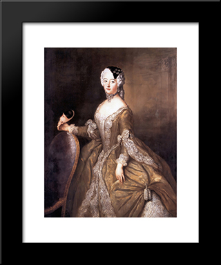 Luise Ulrike Of Prussia, Queen Of Sweden:  Modern Black Framed Art Print by Antoine Pesne