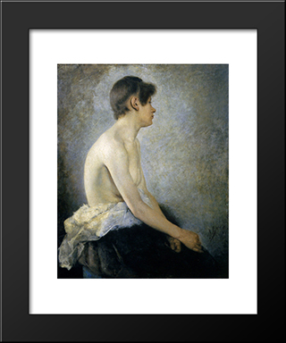 Half Nude:  Modern Black Framed Art Print by Anton Azbe