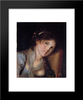 Portrait Of A Girl:  Modern Black Framed Art Print by Anton Azbe