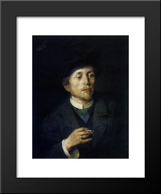 Self-Portrait:  Modern Black Framed Art Print by Anton Azbe