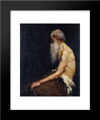 Sitting Old Man Nude:  Modern Black Framed Art Print by Anton Azbe