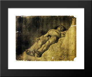 Study Of A Man:  Modern Black Framed Art Print by Anton Azbe