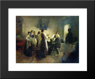 The Village Choir:  Modern Black Framed Art Print by Anton Azbe