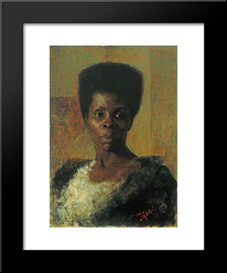 Zamorka (Black Girl):  Modern Black Framed Art Print by Anton Azbe