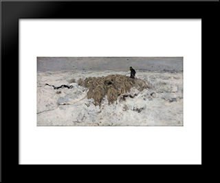 Flock Of Sheep With Shepherd In The Snow:  Modern Black Framed Art Print by Anton Mauve