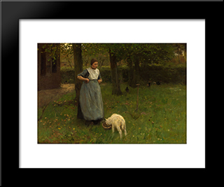Woman From Laren With Lamb:  Modern Black Framed Art Print by Anton Mauve