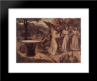 Abraham Served By Three Angels:  Modern Black Framed Art Print by Antonello da Messina