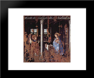Annunciation:  Modern Black Framed Art Print by Antonello da Messina