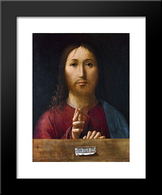 Christ Blessing:  Modern Black Framed Art Print by Antonello da Messina