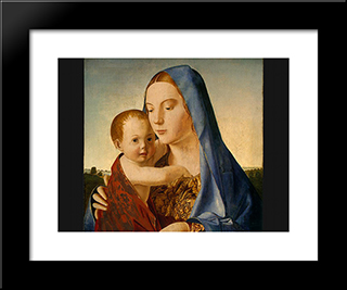 Madonna And Child:  Modern Black Framed Art Print by Antonello da Messina