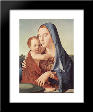 Madonna And Child (Madonna Benson):  Modern Black Framed Art Print by Antonello da Messina
