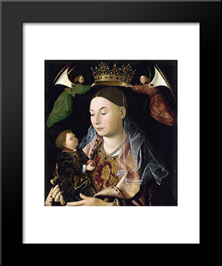 Madonna And Child (Salting Madonna):  Modern Black Framed Art Print by Antonello da Messina