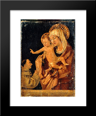 Madonna And Child With A Praying Franciscan Donor:  Modern Black Framed Art Print by Antonello da Messina