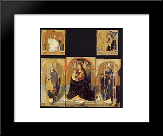 Polyptych With St. Gregory:  Modern Black Framed Art Print by Antonello da Messina