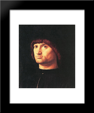 Portrait Of A Man (The Condottiero):  Modern Black Framed Art Print by Antonello da Messina