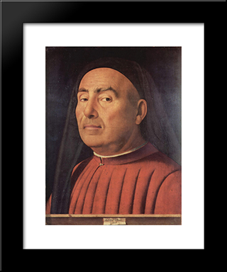Portrait Of A Man (Trivulzio Portrait):  Modern Black Framed Art Print by Antonello da Messina