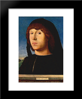 Portrait Of A Young Man:  Modern Black Framed Art Print by Antonello da Messina