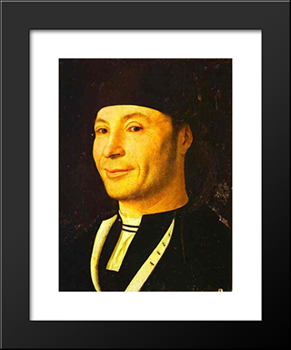 Portrait Of An Unknown Man:  Modern Black Framed Art Print by Antonello da Messina