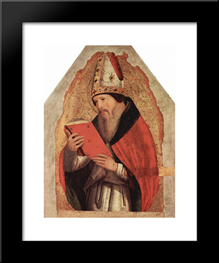 St. Augustine:  Modern Black Framed Art Print by Antonello da Messina