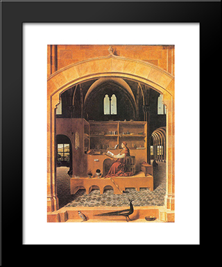 St. Jerome In His Study:  Modern Black Framed Art Print by Antonello da Messina