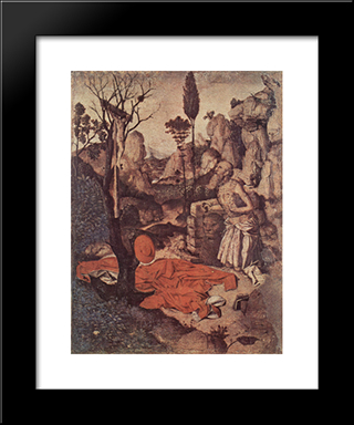 St. Jerome Penitent:  Modern Black Framed Art Print by Antonello da Messina