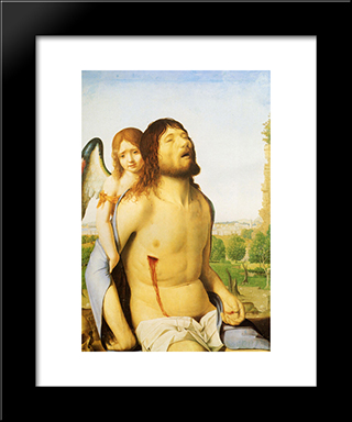 The Dead Christ Supported By An Angel:  Modern Black Framed Art Print by Antonello da Messina