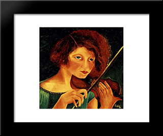 Self - Portrait With Violin:  Modern Black Framed Art Print by Antonietta Raphael