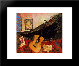 Still Life With Guitar:  Modern Black Framed Art Print by Antonietta Raphael
