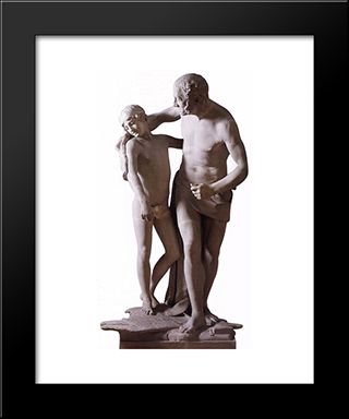 Daedalus And Icarus:  Modern Black Framed Art Print by Antonio Canova