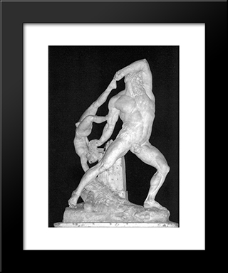 Hercules And Lichas:  Modern Black Framed Art Print by Antonio Canova