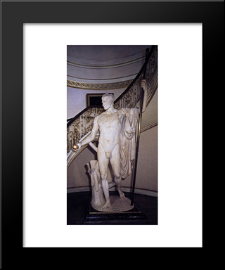 Napoleon As Mars The Peacemaker:  Modern Black Framed Art Print by Antonio Canova