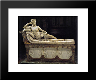 Paolina Borghese As Venus Victrix:  Modern Black Framed Art Print by Antonio Canova
