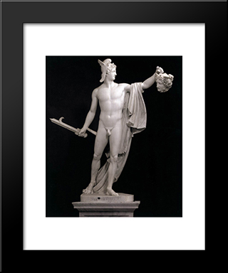 Perseus With The Head Of Medusa:  Modern Black Framed Art Print by Antonio Canova