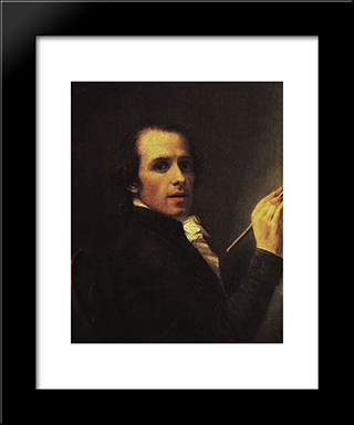 Self-Portrait:  Modern Black Framed Art Print by Antonio Canova