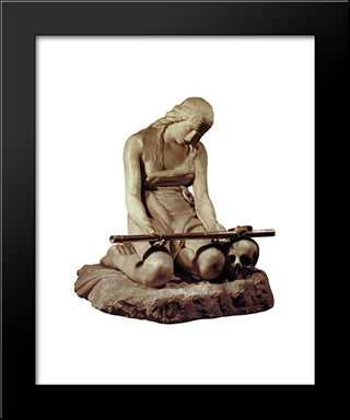 The Penitent Magdalene:  Modern Black Framed Art Print by Antonio Canova