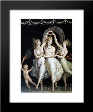 The Three Graces Dancing:  Modern Black Framed Art Print by Antonio Canova