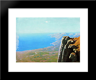 Coast Of The Sea With A Rock:  Modern Black Framed Art Print by Arkhip Kuindzhi