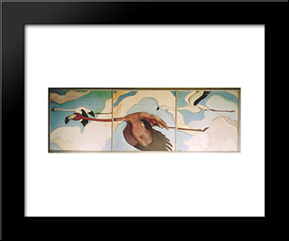 Flamingos In Flight:  Modern Black Framed Art Print by Arman Manookian